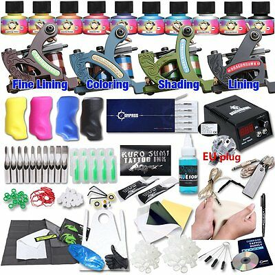 6781 Dragonhawk Professional Tattoo Kit 4 Kinds Of Machines 10 Immortal Color