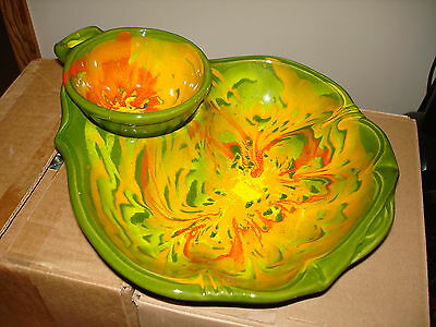 Mid Century Chip and Dip Set Cal. Art Pottery