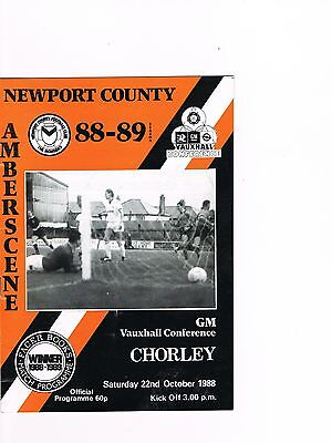 Newport County v Chorley 88/9 Conference, Last ever season