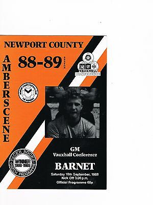 Newport County v Barnet 88/9 Conference, Last ever season