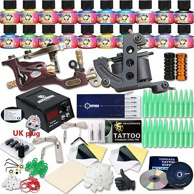 6784 Professional Great tattoo Starter Tattoo Kit Machines 20 Color Inks Top