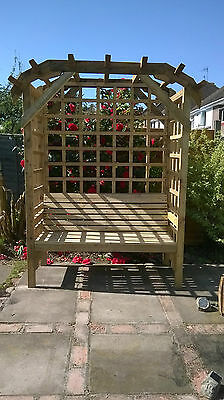 Large wooden Garden Arbour with bench seat and trellis