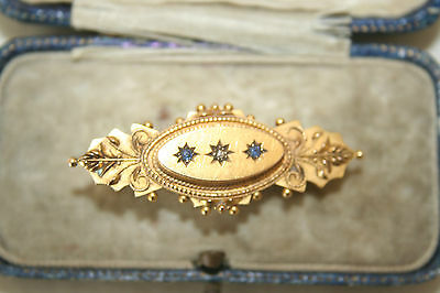 Antique 15Ct Gold sapphire and diamond Brooch in jewellers box.