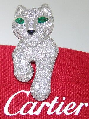 IMPORTANT CARTIER PANTHER 18k WHITE GOLD DIAMOND EMERALD ONYX JABOT PIN BROOCH