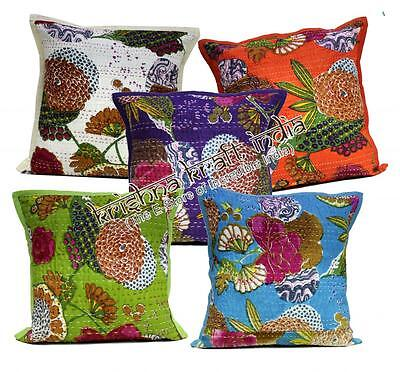 10 Indian Pillow Kantha Stitch USA Floral Pillow Cushion Covers Wholesale Lot