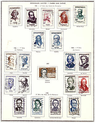 Personnages Celebres :timbres Obliteres - 4 Series Completes - 1957/1958 - Tbe.