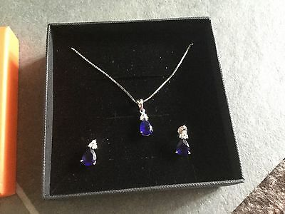 Sterling Silver And Sapphire/cz Necklace And Earring Set. New. Boxed.