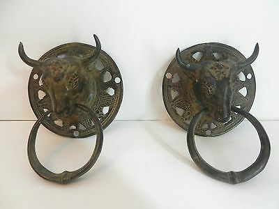 Antique 2 Lost Wax Cast Bronze Islamic Persian Fine Detailed Bull Head Handles