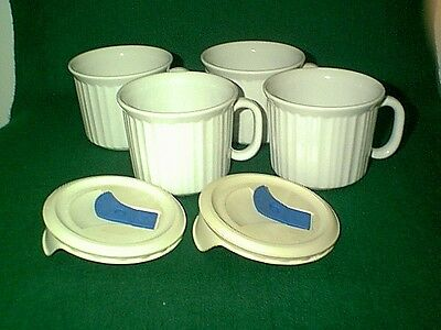Nice Set Of 4 Corning Ware French White 20 Oz Soup Mugs With 2 Vented Lids