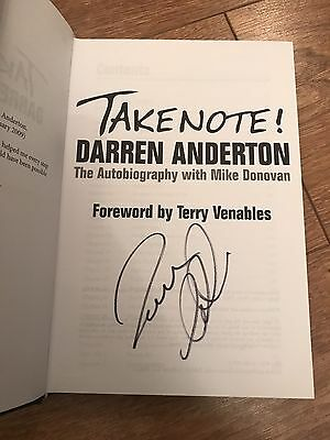 Darren Anderton Signed Autobiography Book Take Note