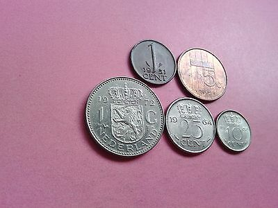 Five Netherlands Holland Dutch Coins Collection 1951 1962 1964 1972 1995 (R596)