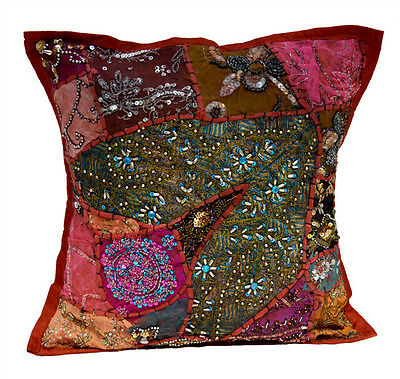 An Red Heavy Embroidery Sequin Patchwork USA Pillow Cases Cushion Cover ACC617