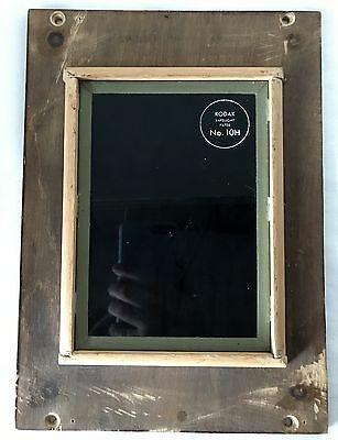 "Vintage ~5x7"" Kodak Darkroom Safe Light Filter No.10H in 8x10"" Wooden Frame"