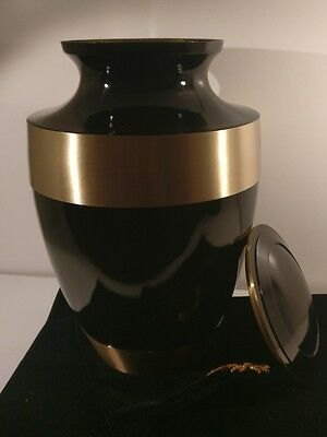 Adult / Large Urn, For Cremation / Ashes Memorial; Black And Gold