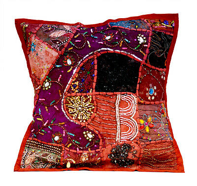 An Red Heavy Embroidery Sequin Patchwork USA Vintage Pillow Cushion Cover ACC602