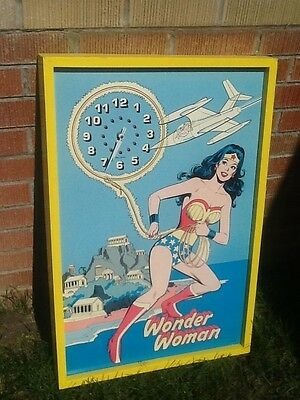 Vintage Original 1978 Wonder Woman Clock-Big! 30 inches x 20.5 inches