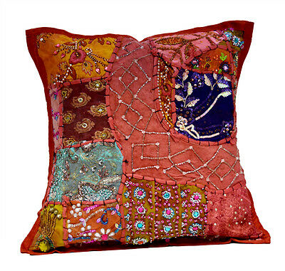 An Heavy Embroidery Sequin Patchwork USA Vintage Pillow Cushion Cover ACC601