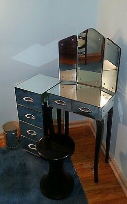 Art Deco Mirrored Vanity Table 2-Piece w/ Drawers local pickup only *PRICE DROP*