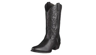 Ariat Men's Heritage R Toe Western Boots Size 11 Med. Black New