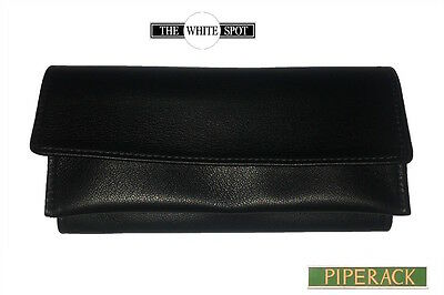 NEW Alfred Dunhill White Spot Roll Up Black Leather Tobacco Pouch  PA2000