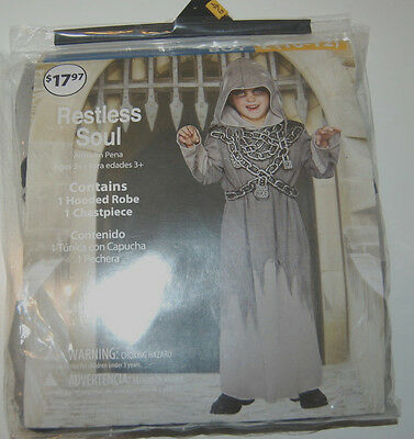 Boys Halloween Costume Restless Soul Large 10 - 12 Hooded Robe Chestpiece