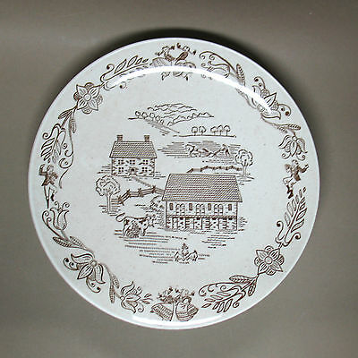 "4 ROYAL CHINA ""BROWN BUCKS COUNTY"" 10"" DINNER PLATES Excellent Condition"