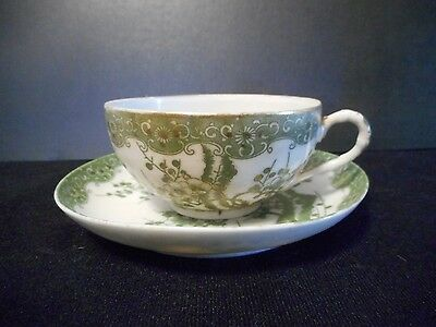 Vintage Antique Japanese Cup & Saucer Green w/ Gold trim Cherry Blossom