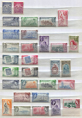 Barbados Set of 30 mint MNH stamps issued 1938-57 - FREE UK POSTAGE