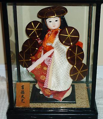 Beautiful Vintage Geisha girl child hats Glass display case Very NICE