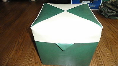 Foot Stool Mid Century Vintage Hassock Cube Green White