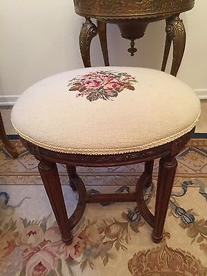 Antique Carved Wood Footstool With Petit Point Needlepoint