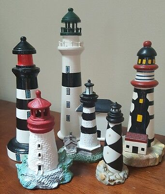Lot of 6 Lighthouse Figurines Lefton Cape Lookout,  Wooden Ceramic Porcelain