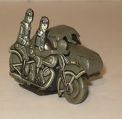 Beautiful 1930's Tin Wind-Up Saalheimer & Strauss Military Motorcycle W/ Sidecar