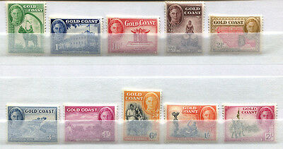 Gold Coast Set of 10 mint MNH King George VI stamps issued 1948 - FREE UK POST