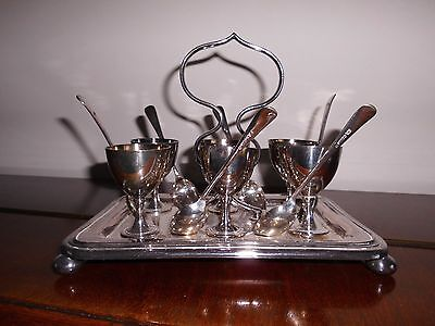 Vintage Silver Plated Egg Cup/spoon Set With Stand