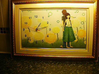 Completed Vintage Wool Tapestry Needlepoint, framed with working clock insert