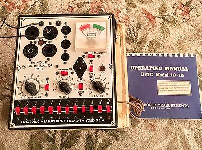 Vintage EMC Model 215 Tube & Transistor Tester Original Manual Included