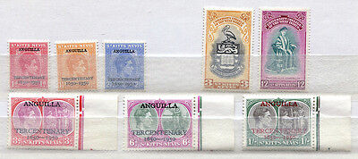 St. Kitts Nevis Set of 8 mint MNH stamps issued 1950-51 - FREE UK POSTAGE