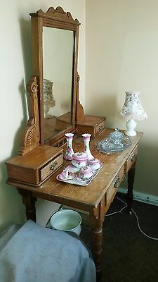 Antique pine dressing table 4 drawers, Swivel mirror