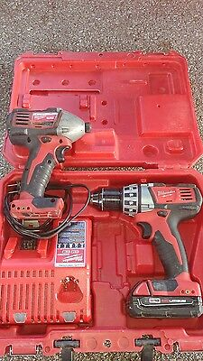 Milwaukee M18 red lithium 1/2in. drill  and 1/4 in. hex impact driver