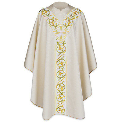 Embroidered Semi Gothic Chasuble, light gold + Maniple, Chalice Veil and Burs