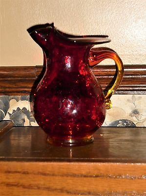 "VINTAGE RED CRACKLE GLASS 6"" PITCHER with AMBERINA APPLIED HANDLE MID CENTURY"