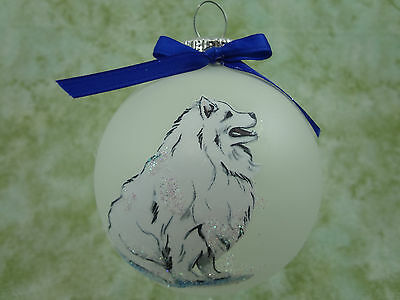 D057 Hand-made Christmas Ornament dog - Samoyed -fluffy sitting