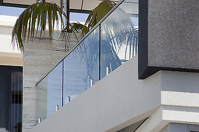 Balustrade / Fence Handrail Stainless Steel Top Rail, End Clamp Caps 12mm Glass
