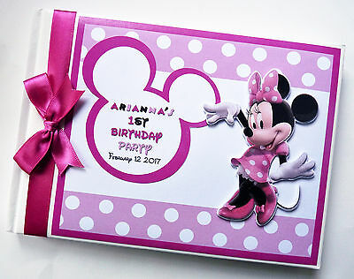 Personalised Disney Minnie Mouse Girls/1St Birthday Guest Book - Any Design