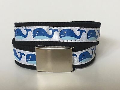 Boys Belt - Ribbon Belt (Blue Whale)