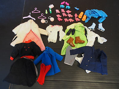 43 pcs Vtg Barbie Ken Dolls Boots Pilot Shirt Coat Pants Dress Purse Hanger Lot