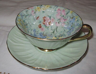 Shelley Summer Glory Oleander Shape Cup & Saucer Chintz Pattern on Green