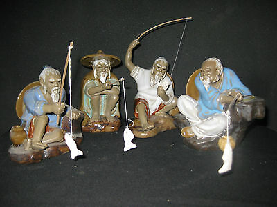 bonsai figurine aquarium ornaments - Fishermen 4 in a set