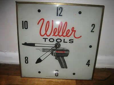 Vintage 1960 Weller Tools Soldering Gun Light Clock Sign 15 X 15 It Works